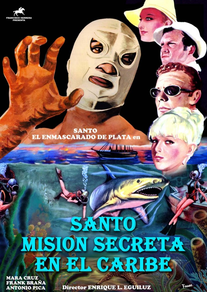 SANTO MISION SECRETA EN EL CARIBE PRESS BOOK ORIGINAL BAJA RESOLUCION